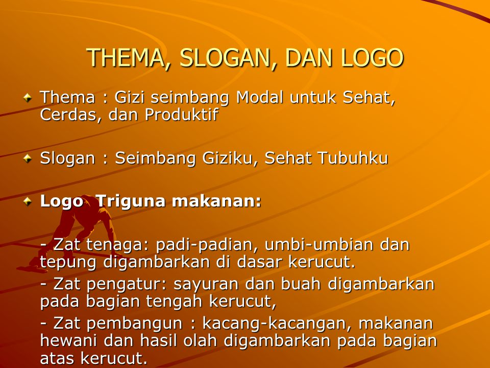 THEMA, SLOGAN, DAN LOGO Thema : Gizi seimbang Modal untuk Sehat, Cerdas, dan Produktif. Slogan : Seimbang Giziku, Sehat Tubuhku.