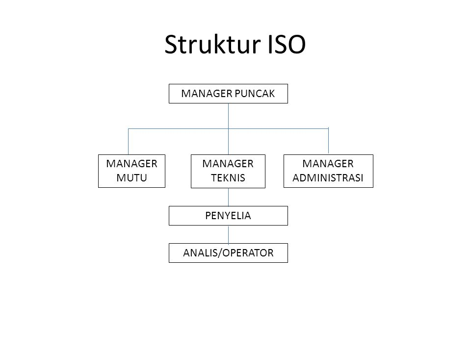 Struktur ISO MANAGER PUNCAK MANAGER MUTU MANAGER TEKNIS