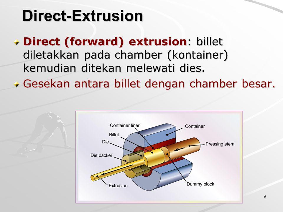 Direct-Extrusion Direct (forward) extrusion: billet diletakkan pada chamber (kontainer) kemudian ditekan melewati dies.