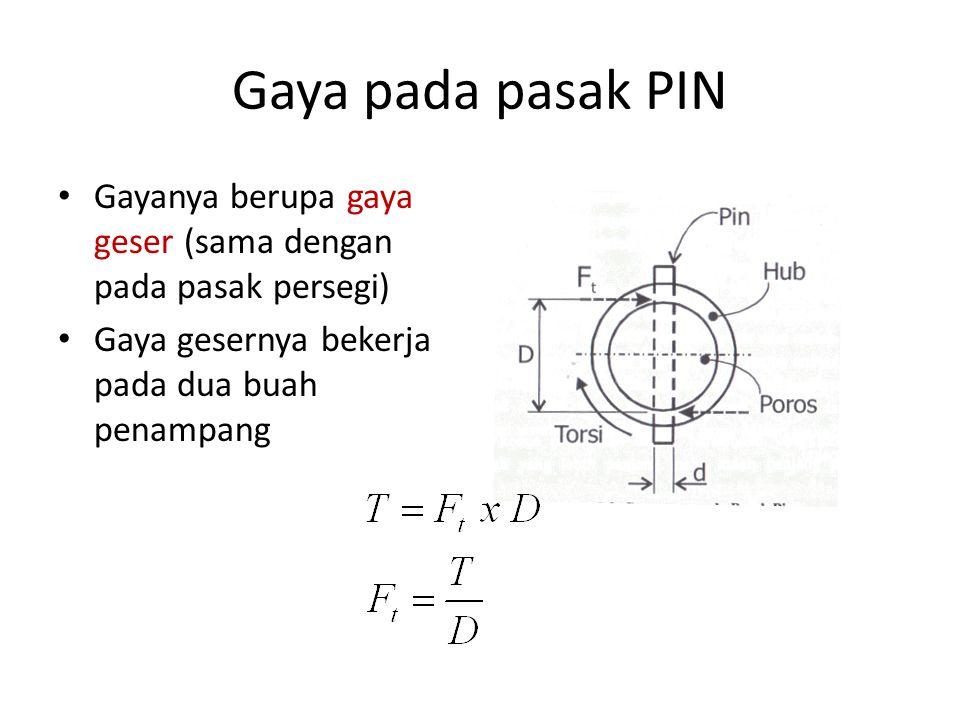 Gaya pada pasak PIN Gayanya berupa gaya geser (sama dengan pada pasak persegi) Gaya gesernya bekerja pada dua buah penampang.