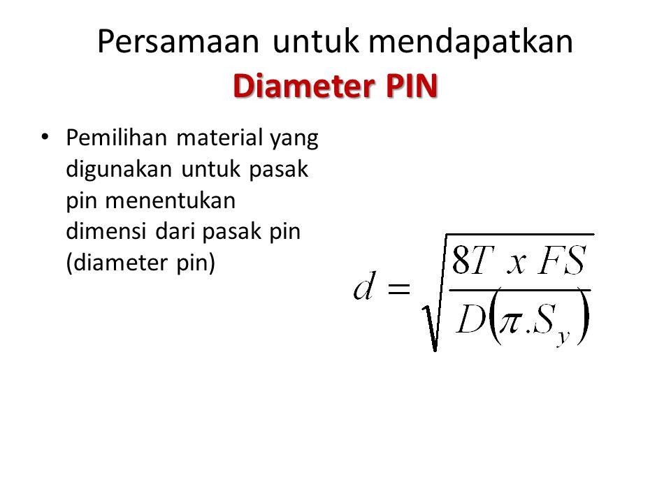 Persamaan untuk mendapatkan Diameter PIN