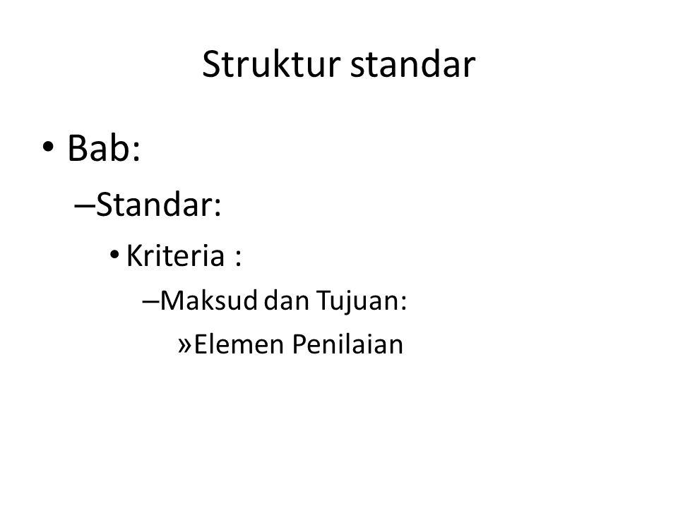 Struktur standar Bab: Standar: Kriteria : Maksud dan Tujuan: