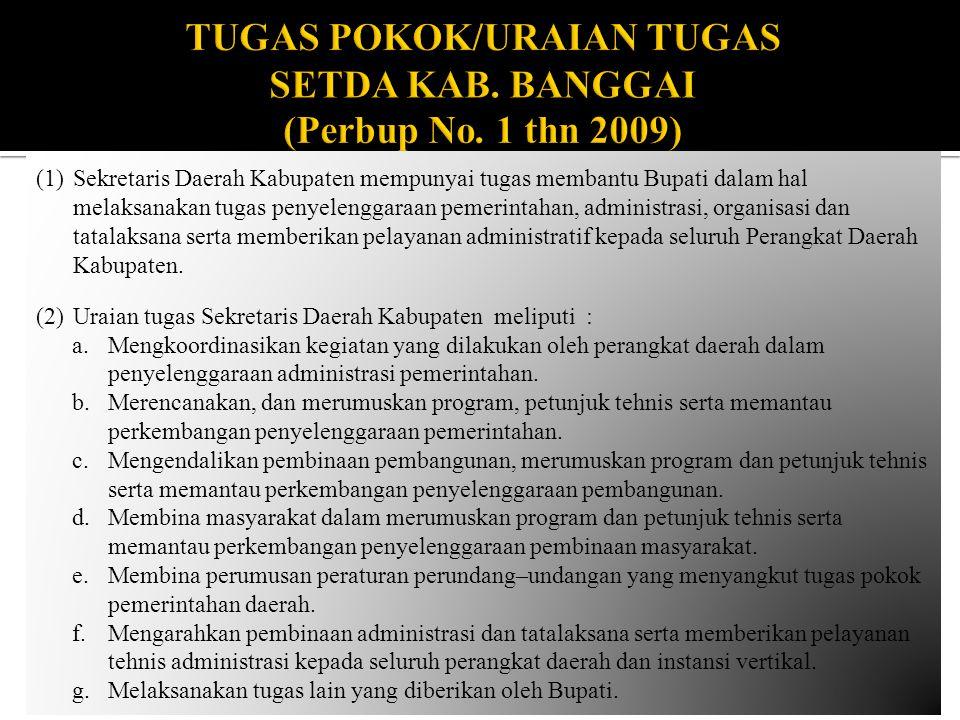 TUGAS POKOK/URAIAN TUGAS SETDA KAB. BANGGAI (Perbup No. 1 thn 2009)
