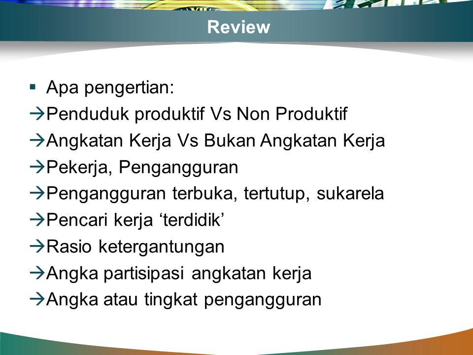 Review Apa pengertian: Penduduk produktif Vs Non Produktif. Angkatan Kerja Vs Bukan Angkatan Kerja.