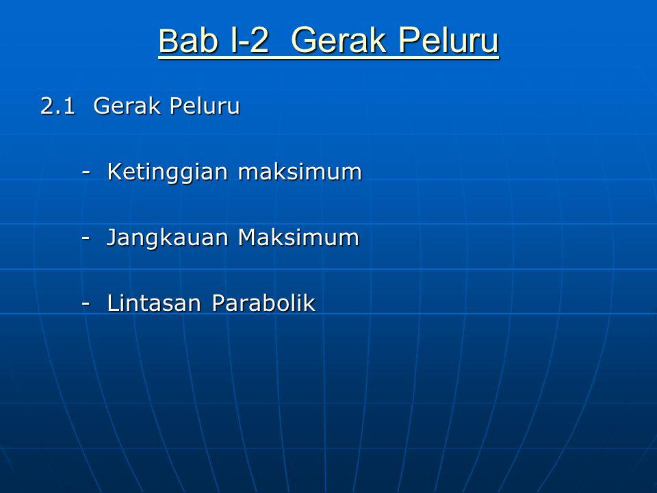 Bab I-2 Gerak Peluru 2.1 Gerak Peluru - Ketinggian maksimum - Jangkauan Maksimum - Lintasan Parabolik