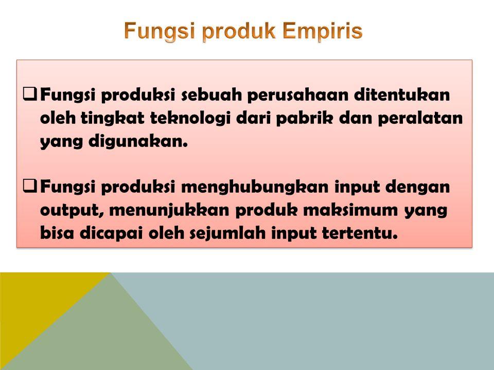 Fungsi produk Empiris Fungsi produksi sebuah perusahaan ditentukan oleh tingkat teknologi dari pabrik dan peralatan yang digunakan.