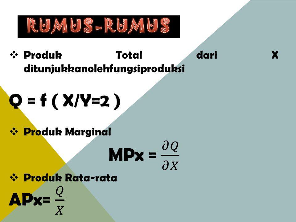 Q = f ( X/Y=2 ) MPx = 𝜕𝑄 𝜕𝑋 APx= 𝑄 𝑋 RUMUS-RUMUS