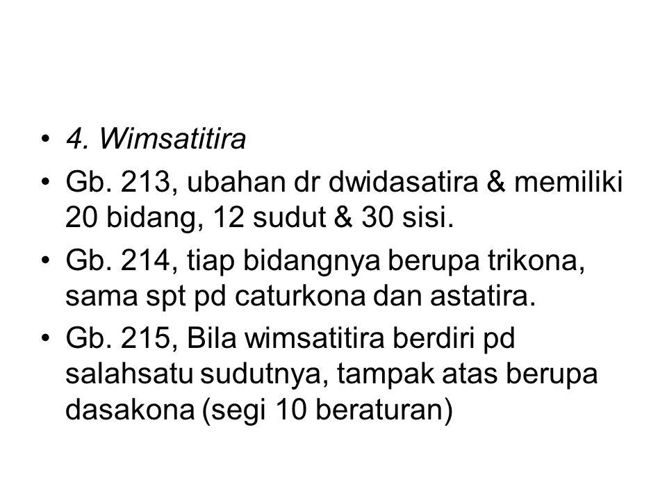 4. Wimsatitira Gb. 213, ubahan dr dwidasatira & memiliki 20 bidang, 12 sudut & 30 sisi.