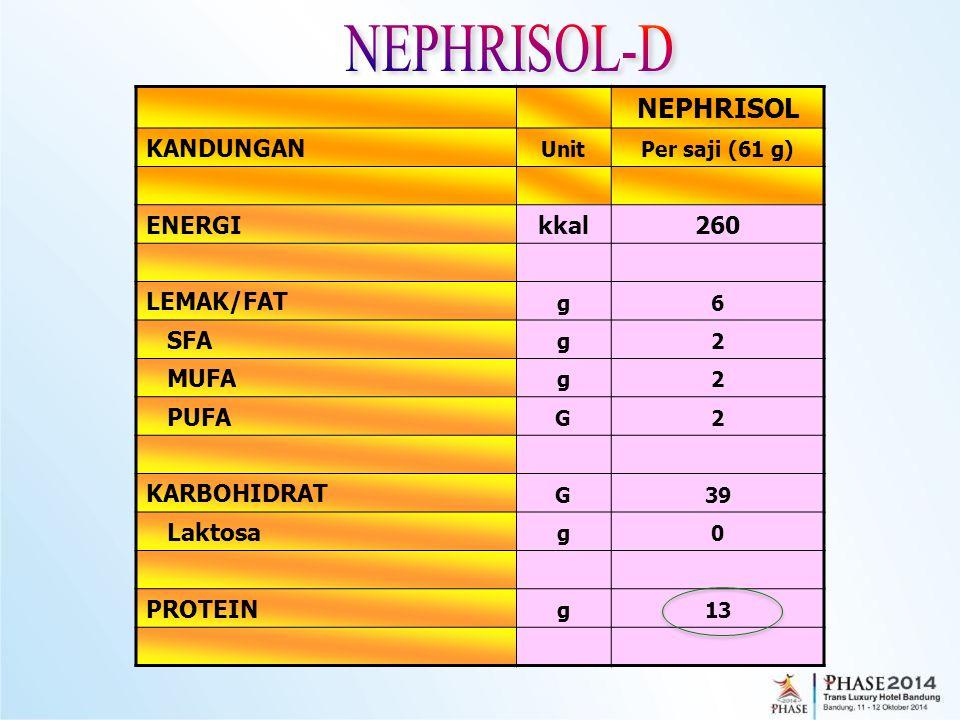 NEPHRISOL-D NEPHRISOL KANDUNGAN ENERGI kkal 260 LEMAK/FAT SFA MUFA