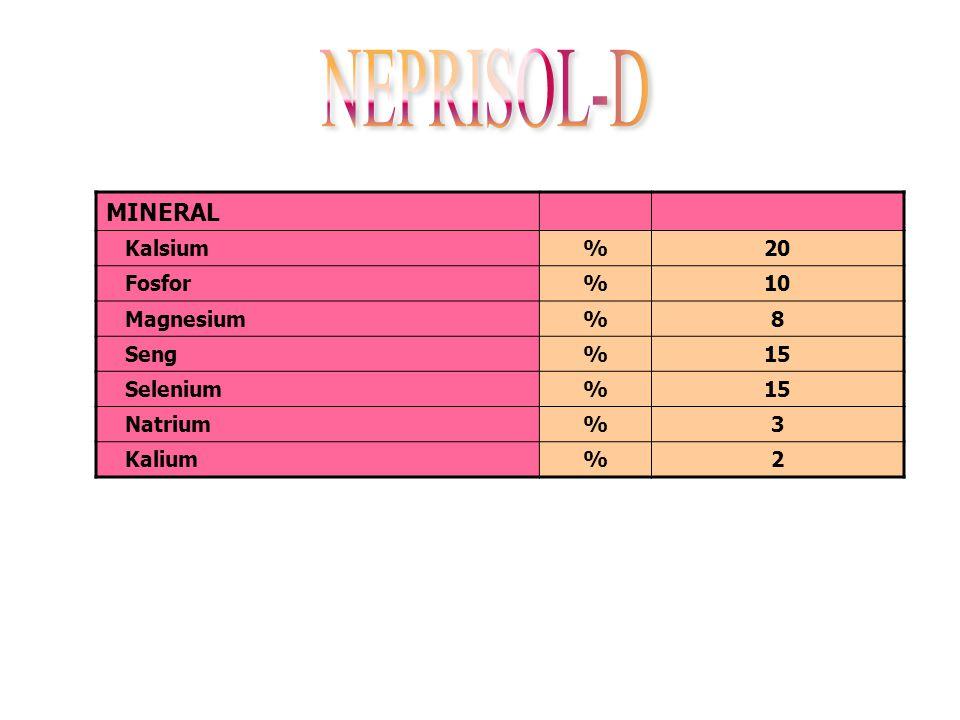 NEPRISOL-D MINERAL Kalsium % 20 Fosfor 10 Magnesium 8 Seng 15 Selenium