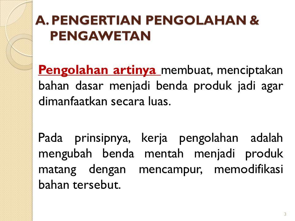 A. PENGERTIAN PENGOLAHAN & PENGAWETAN