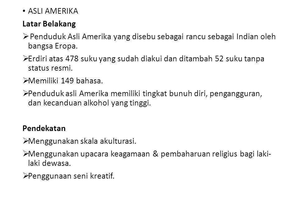 ASLI AMERIKA Latar Belakang. Penduduk Asli Amerika yang disebu sebagai rancu sebagai Indian oleh bangsa Eropa.