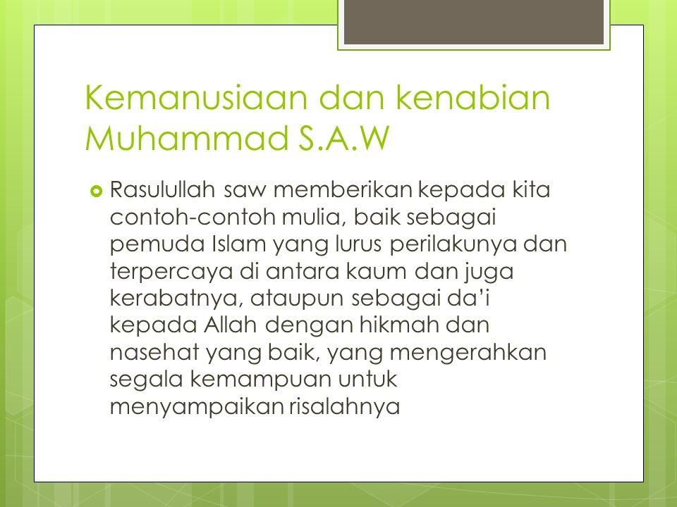 Kemanusiaan dan kenabian Muhammad S.A.W