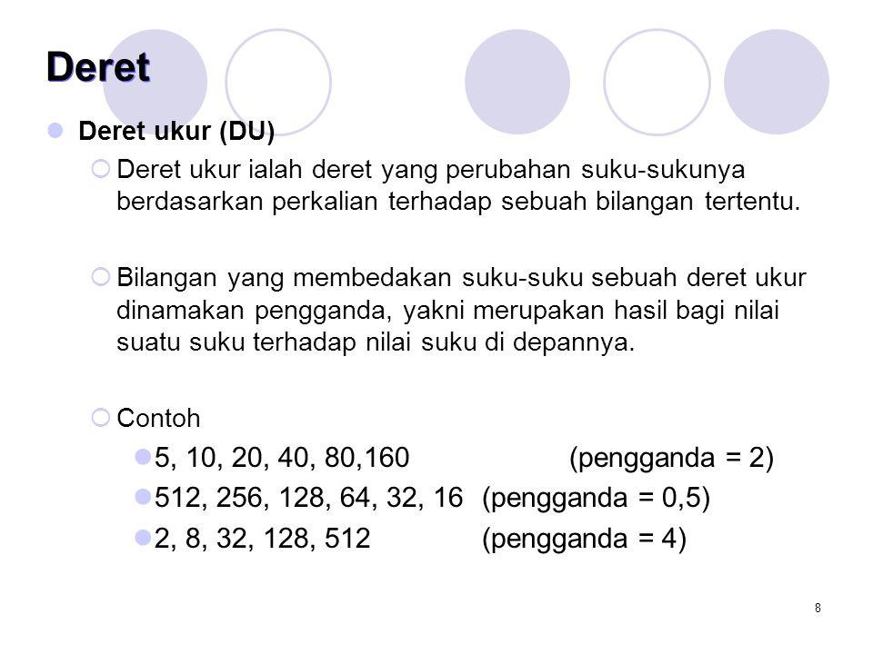 Deret Deret ukur (DU) Deret ukur ialah deret yang perubahan suku-sukunya berdasarkan perkalian terhadap sebuah bilangan tertentu.