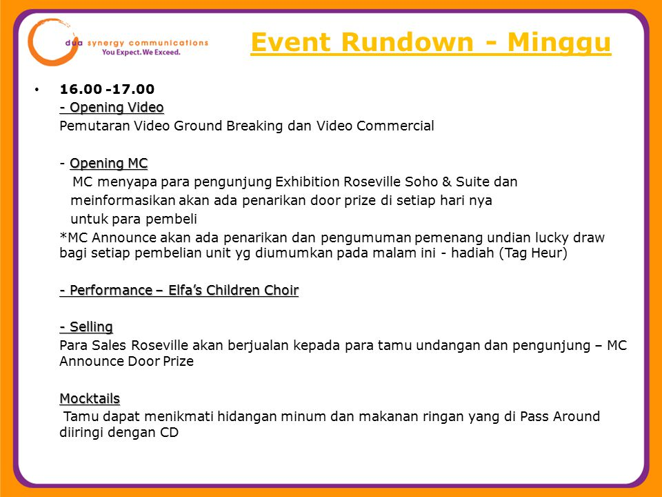 Event Rundown - Minggu 16.00 -17.00 - Opening Video