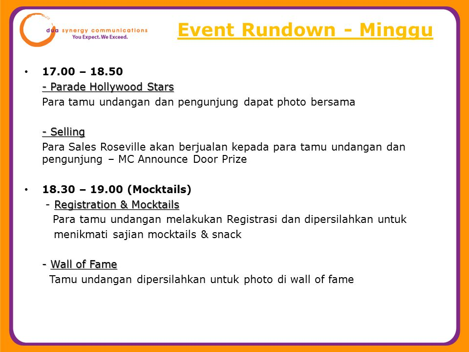 Event Rundown - Minggu 17.00 – 18.50 - Parade Hollywood Stars