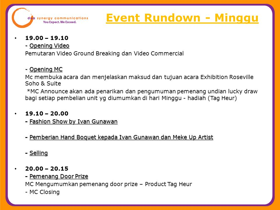 Event Rundown - Minggu 19.00 – 19.10 - Opening Video