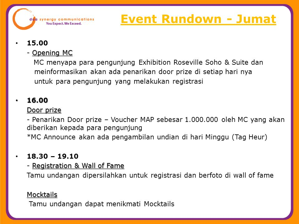 Event Rundown - Jumat 15.00 - Opening MC