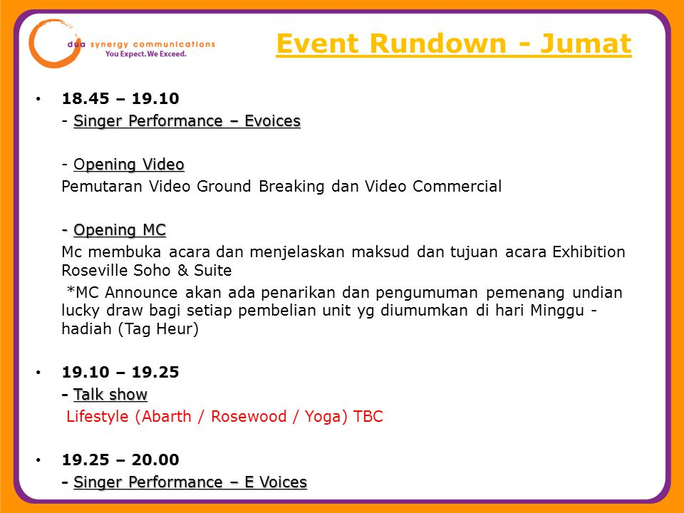 Event Rundown - Jumat 18.45 – 19.10 - Singer Performance – Evoices