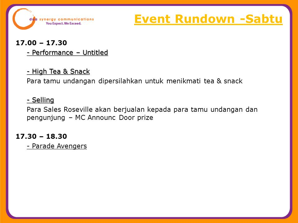 Event Rundown -Sabtu 17.00 – 17.30 - Performance – Untitled