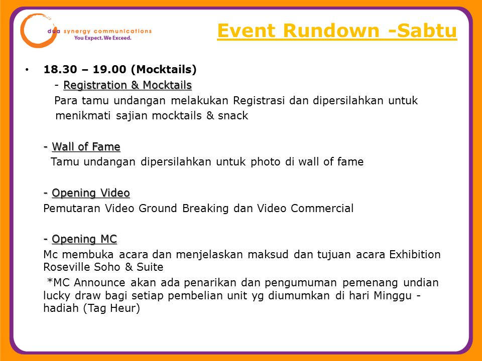 Event Rundown -Sabtu 18.30 – 19.00 (Mocktails)