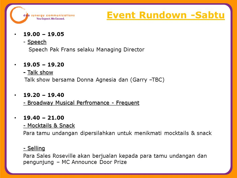 Event Rundown -Sabtu 19.00 – 19.05 - Speech