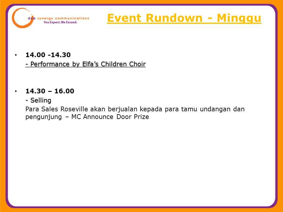 Event Rundown - Minggu 14.00 -14.30