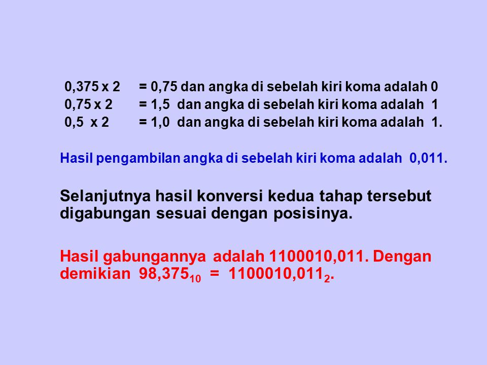 0,375 x 2 = 0,75 dan angka di sebelah kiri koma adalah 0