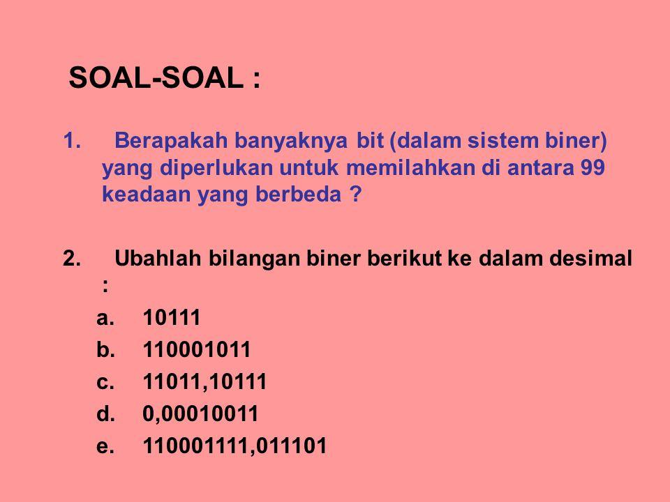 SOAL-SOAL : Berapakah banyaknya bit (dalam sistem biner) yang diperlukan untuk memilahkan di antara 99 keadaan yang berbeda