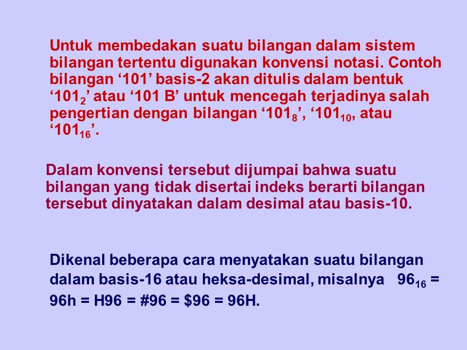 Untuk membedakan suatu bilangan dalam sistem bilangan tertentu digunakan konvensi notasi. Contoh bilangan '101' basis-2 akan ditulis dalam bentuk '1012' atau '101 B' untuk mencegah terjadinya salah pengertian dengan bilangan '1018', '10110, atau '10116'.