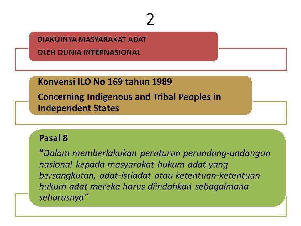2 DIAKUINYA MASYARAKAT ADAT. OLEH DUNIA INTERNASIONAL. Konvensi ILO No 169 tahun 1989.