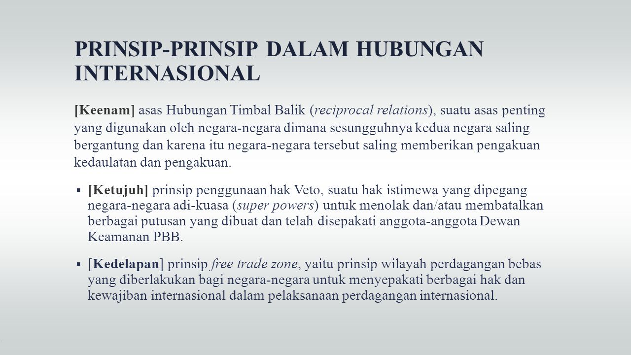 PRINSIP-PRINSIP DALAM HUBUNGAN INTERNASIONAL