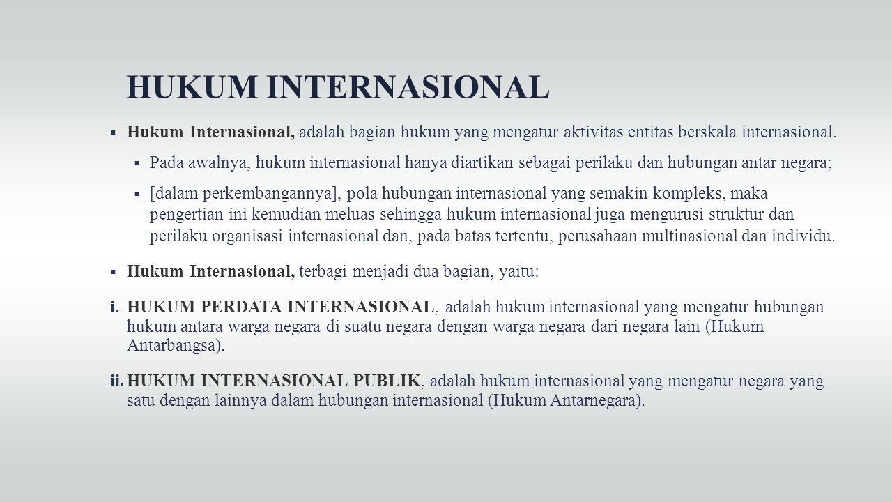 HUKUM INTERNASIONAL Hukum Internasional, adalah bagian hukum yang mengatur aktivitas entitas berskala internasional.