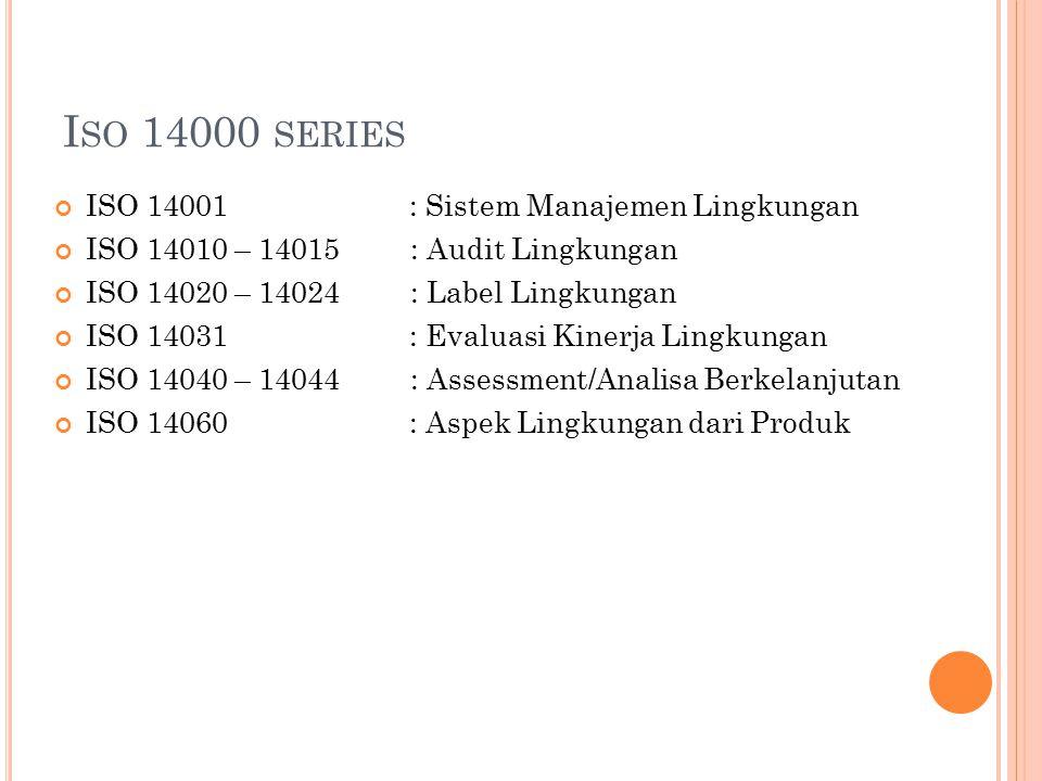 Iso 14000 series ISO 14001 : Sistem Manajemen Lingkungan