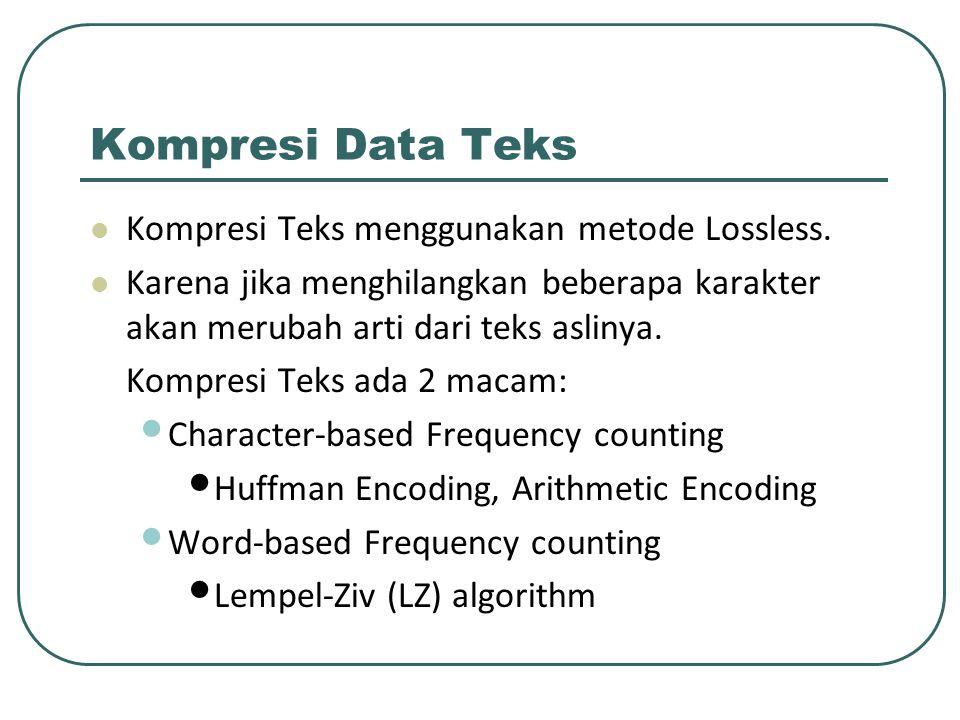 Kompresi Data Teks Kompresi Teks menggunakan metode Lossless.