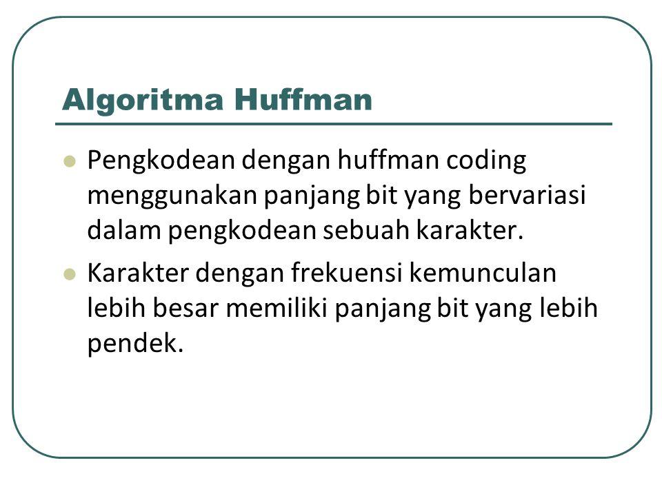 Algoritma Huffman Pengkodean dengan huffman coding menggunakan panjang bit yang bervariasi dalam pengkodean sebuah karakter.