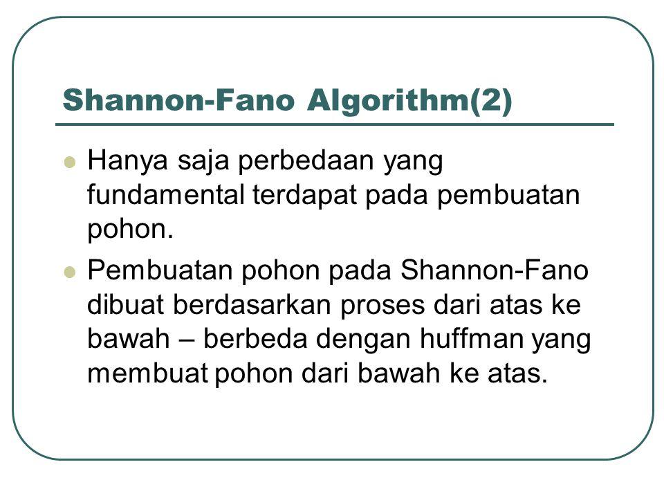 Shannon-Fano Algorithm(2)