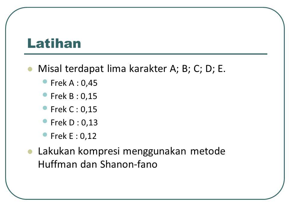 Latihan Misal terdapat lima karakter A; B; C; D; E.