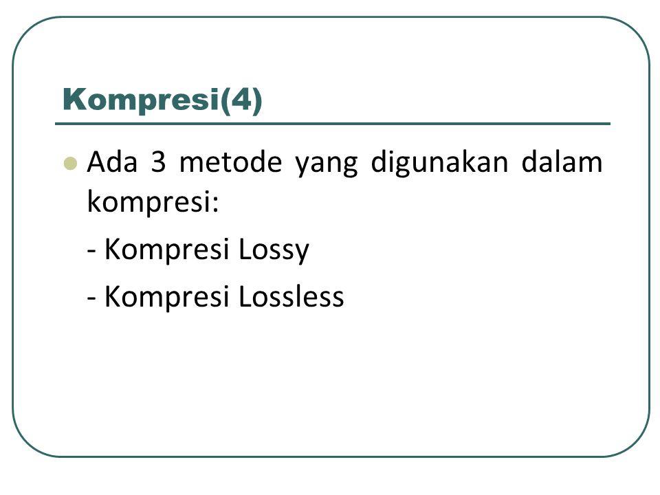 Ada 3 metode yang digunakan dalam kompresi: - Kompresi Lossy