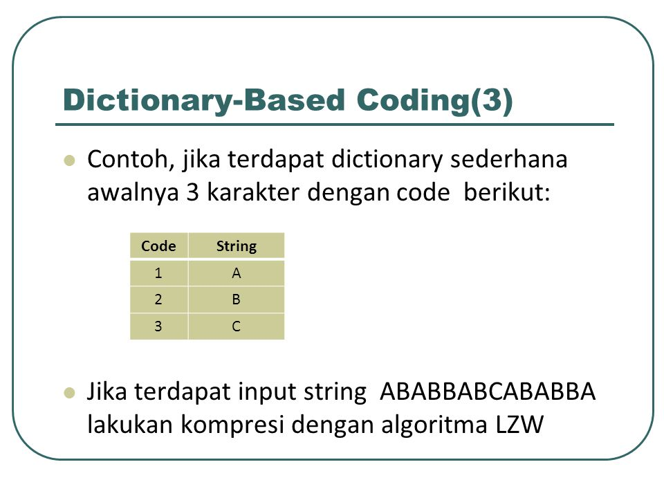 Dictionary-Based Coding(3)
