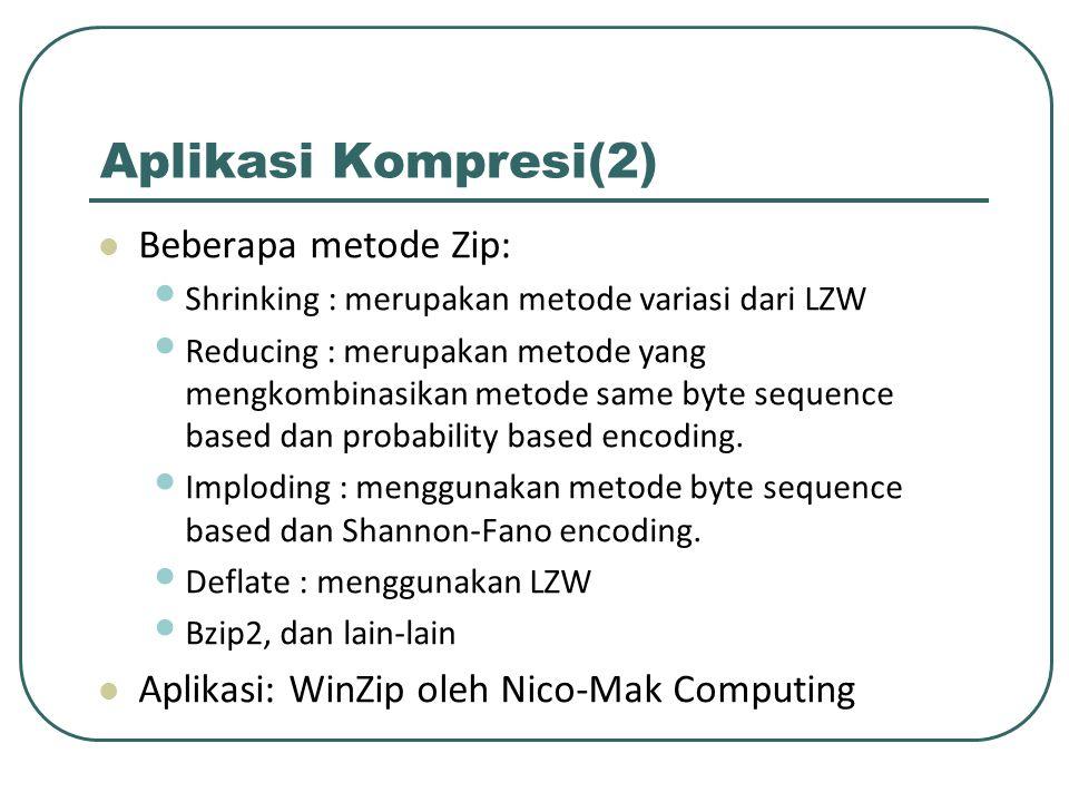 Aplikasi Kompresi(2) Beberapa metode Zip: