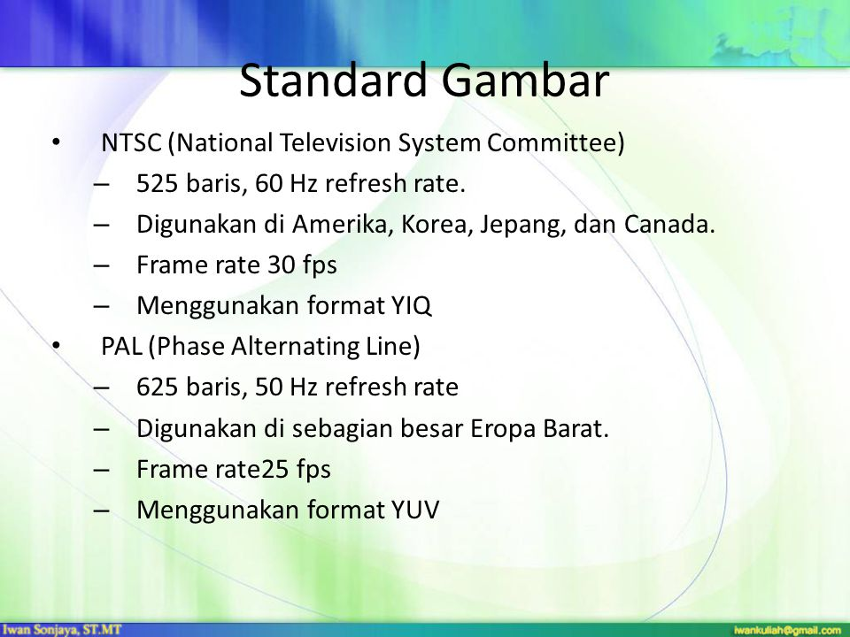 Standard Gambar NTSC (National Television System Committee)