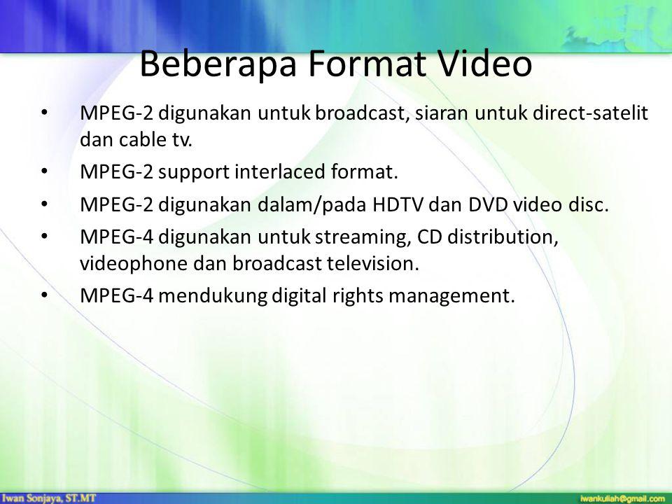 Beberapa Format Video MPEG-2 digunakan untuk broadcast, siaran untuk direct-satelit dan cable tv. MPEG-2 support interlaced format.