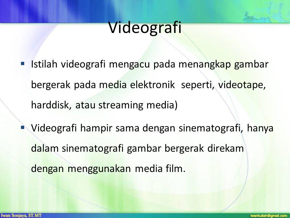 Videografi Istilah videografi mengacu pada menangkap gambar bergerak pada media elektronik seperti, videotape, harddisk, atau streaming media)