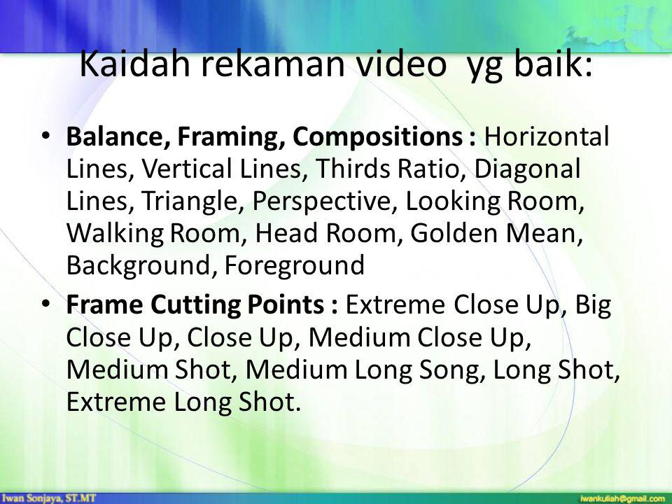 Kaidah rekaman video yg baik: