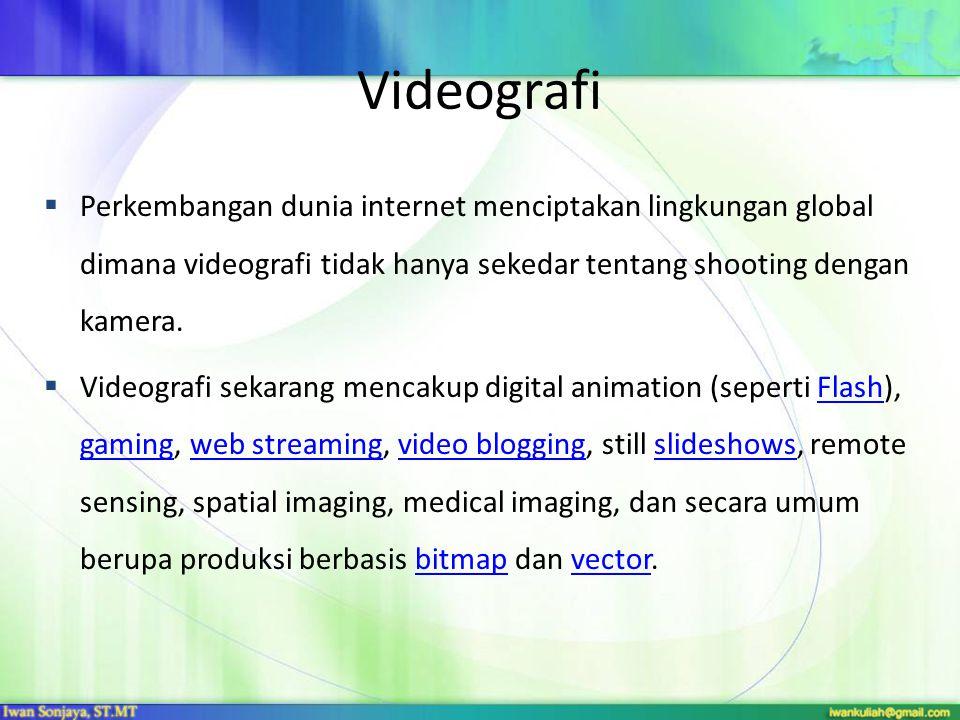 Videografi Perkembangan dunia internet menciptakan lingkungan global dimana videografi tidak hanya sekedar tentang shooting dengan kamera.