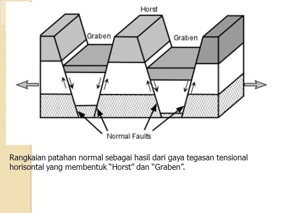 Rangkaian patahan normal sebagai hasil dari gaya tegasan tensional horisontal yang membentuk Horst dan Graben .