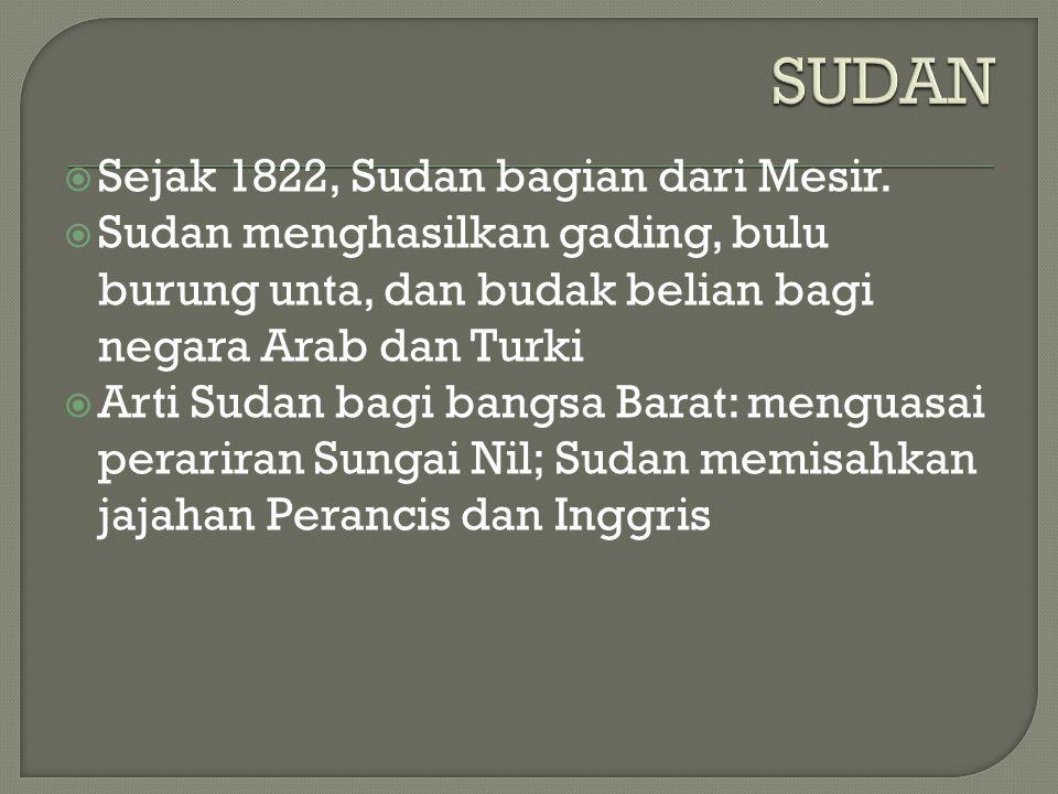 SUDAN Sejak 1822, Sudan bagian dari Mesir.