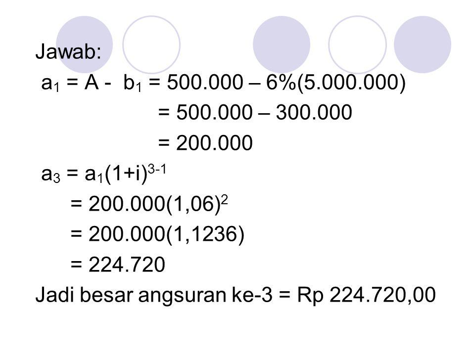 Jawab: a1 = A - b1 = 500.000 – 6%(5.000.000) = 500.000 – 300.000. = 200.000. a3 = a1(1+i)3-1. = 200.000(1,06)2.
