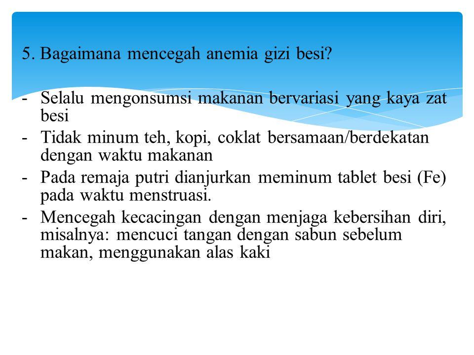5. Bagaimana mencegah anemia gizi besi